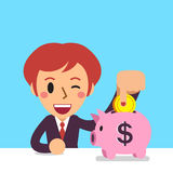 Cartoon business woman saving money in piggy bank Royalty Free Stock Images