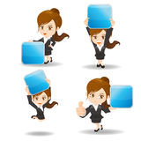 Cartoon Business woman show App Royalty Free Stock Images