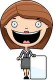 Cartoon Business Woman Sign Stock Image
