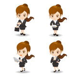 Cartoon Business woman and technology Royalty Free Stock Photos