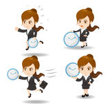 Cartoon Business woman with time Stock Image