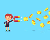 Cartoon Business Woman Using A Magnet To Attracts Money Royalty Free Stock Photography