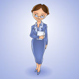 Cartoon business woman. Vector Stock Images