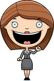 Cartoon Business Woman Waving Stock Image