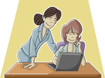Cartoon business woman working Stock Images