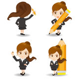 Cartoon  Business woman write Royalty Free Stock Photo
