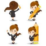 Cartoon  Business woman write Royalty Free Stock Photo