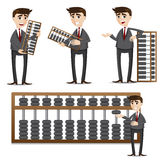 Cartoon businessman with abacus set. Illustration of cartoon businessman with abacus set Royalty Free Stock Photography