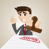 Cartoon businessman with accepted document Royalty Free Stock Photos