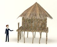 Cartoon businessman with african house Royalty Free Stock Photo