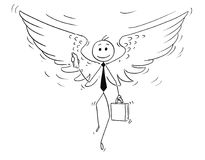 Cartoon of Businessman with Angel Wings. Cartoon stick man drawing conceptual illustration of businessman or investor with angel wings. Business concept of Stock Photo