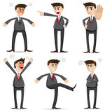 Cartoon businessman angry set Royalty Free Stock Photos