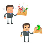 Cartoon businessman angry at spam and viruses Royalty Free Stock Photo
