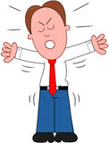 Cartoon Businessman Angry. Cartoon businessman standing, angry and shouting Royalty Free Stock Photo