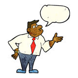 Cartoon businessman asking question with speech bubble Royalty Free Stock Image