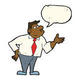 Cartoon businessman asking question with speech bubble Stock Photography
