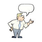 Cartoon businessman asking question with speech bubble Royalty Free Stock Photos