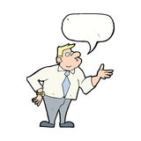 Cartoon businessman asking question with speech bubble Royalty Free Stock Photo