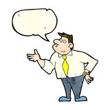 Cartoon businessman asking question with speech bubble Stock Photo