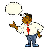 cartoon businessman asking question with thought bubble Royalty Free Stock Image