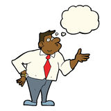 cartoon businessman asking question with thought bubble Royalty Free Stock Photo