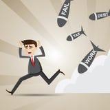Cartoon businessman avoid social turmoil Stock Photography