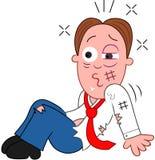 Cartoon Businessman Badly Injured.  Stock Photos