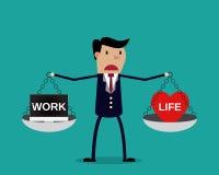 Cartoon businessman balancing Work and life Stock Photography