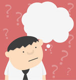 Cartoon businessman with bar question mark Stock Image