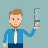 Cartoon Businessman Batched Checklist. Businessman with checklist in the hand Royalty Free Stock Image