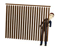Cartoon businessman behind curtain Royalty Free Stock Image