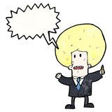 Cartoon businessman with big blond hair Stock Photo
