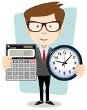 Cartoon businessman with a big calculator and Royalty Free Stock Photo