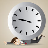 Cartoon businessman with big clock over his back Royalty Free Stock Image