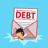 Cartoon businessman and big debt letter. For design Stock Photography