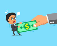 Cartoon businessman and big hand do tug of war with money Royalty Free Stock Images