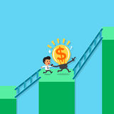 Cartoon businessman and big idea running to higher bar chart Royalty Free Stock Photo