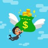 Cartoon businessman and big money bag Royalty Free Stock Photography