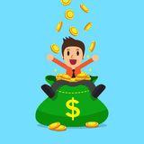 Cartoon businessman with big money bag Stock Images