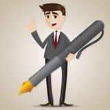 Cartoon businessman with big pen Stock Photo
