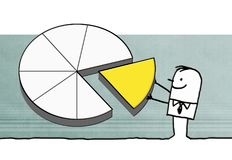 Cartoon businessman with big pie chart. Illustration Royalty Free Stock Photo