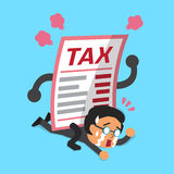 Cartoon a businessman with big tax letter. For design Stock Photos