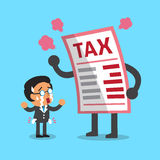 Cartoon businessman with big tax letter. For design Royalty Free Stock Images