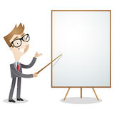 Cartoon businessman blank white board Stock Image