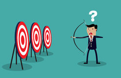 Cartoon businessman with bow and arrow Royalty Free Stock Images