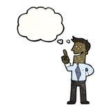 Cartoon businessman with brilliant idea Stock Photo
