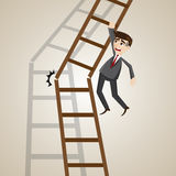 Cartoon businessman on broken ladder Stock Images