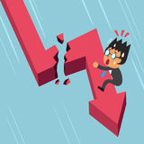 Cartoon businessman with broken red arrow. For design Stock Images
