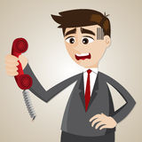 Cartoon businessman with broken telephone Royalty Free Stock Photos