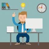 Cartoon Businessman Bulb Idea Office. Businessman cartoon with idea in the office Royalty Free Stock Photo